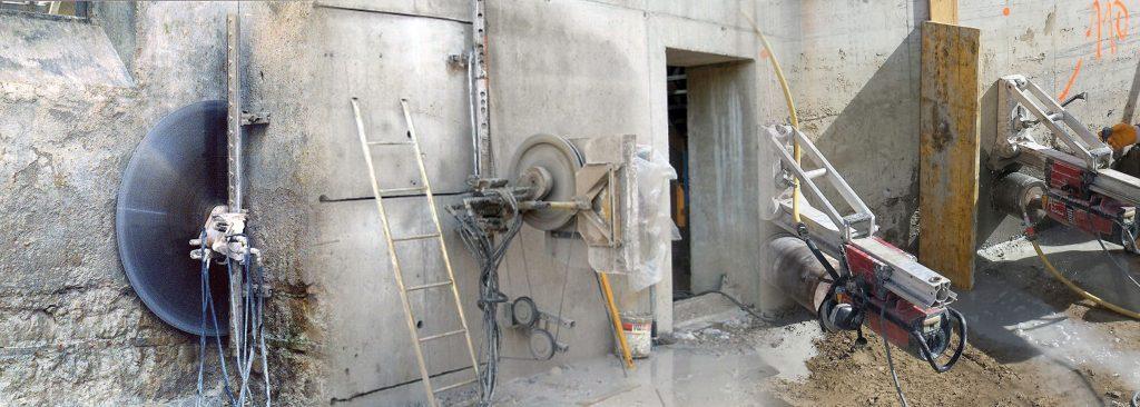 Demolizione con disco e filo diamantato, fori e carotaggio